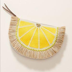 Lemon Raffia Pouch